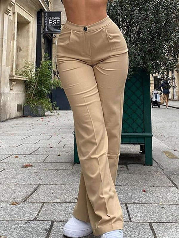 High Waist Solid Straight Pants - Apricot S