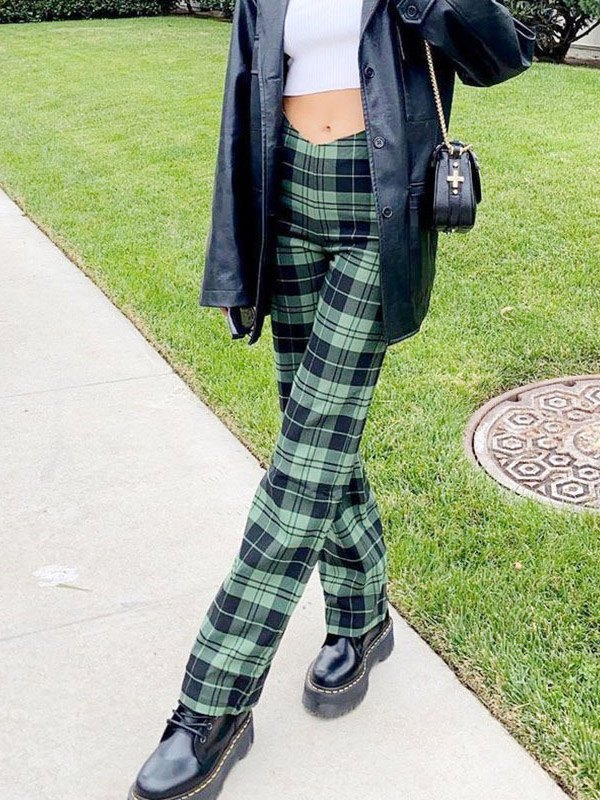 Plaid Straight Casual Pants - Green S