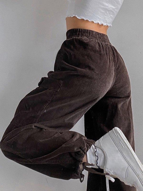Corduroy High Waist Cargo Pants - Brown S