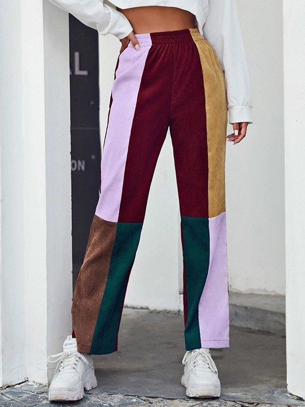 Color Block High Waist Corduroy Pants - multicolorple Colors 2XL