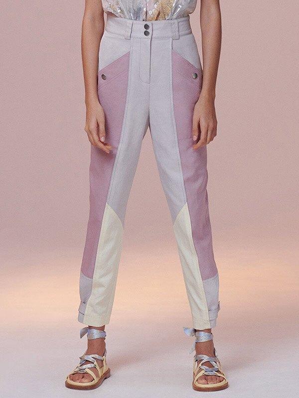 Color Block High Rise Twill Pants - multicolorple Colors 2XL