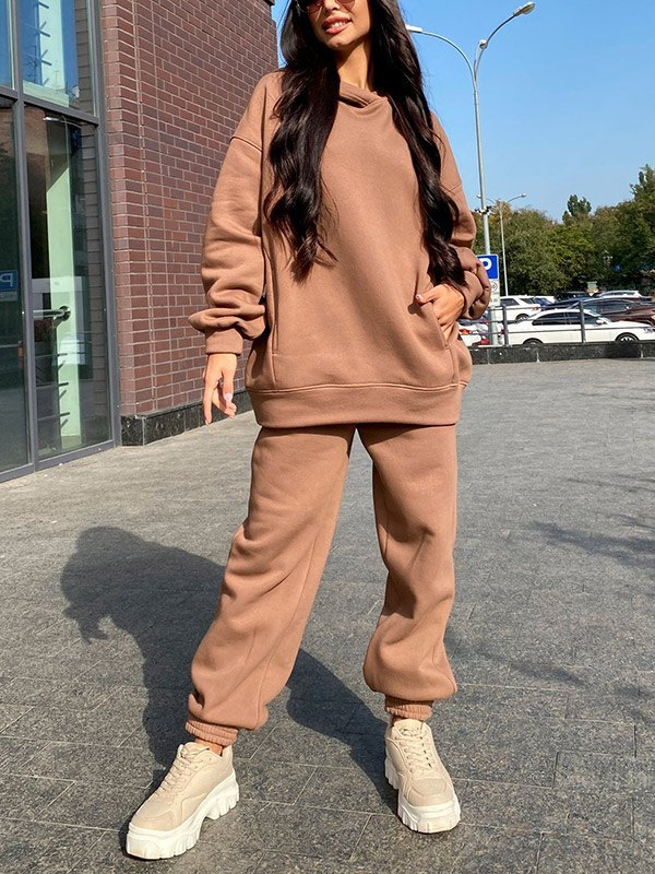 Hooded Top Joggers Tracksuit Set - Camel XL