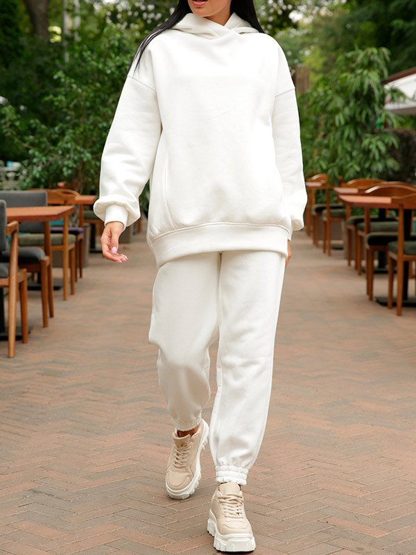 Hooded Top Joggers Tracksuit Set - White XL