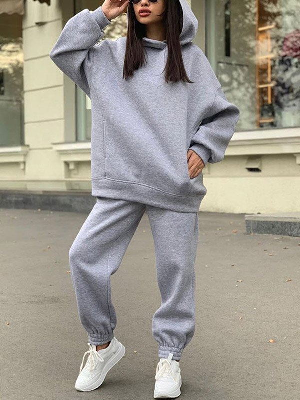 Hooded Top Joggers Tracksuit Set - Gray XL