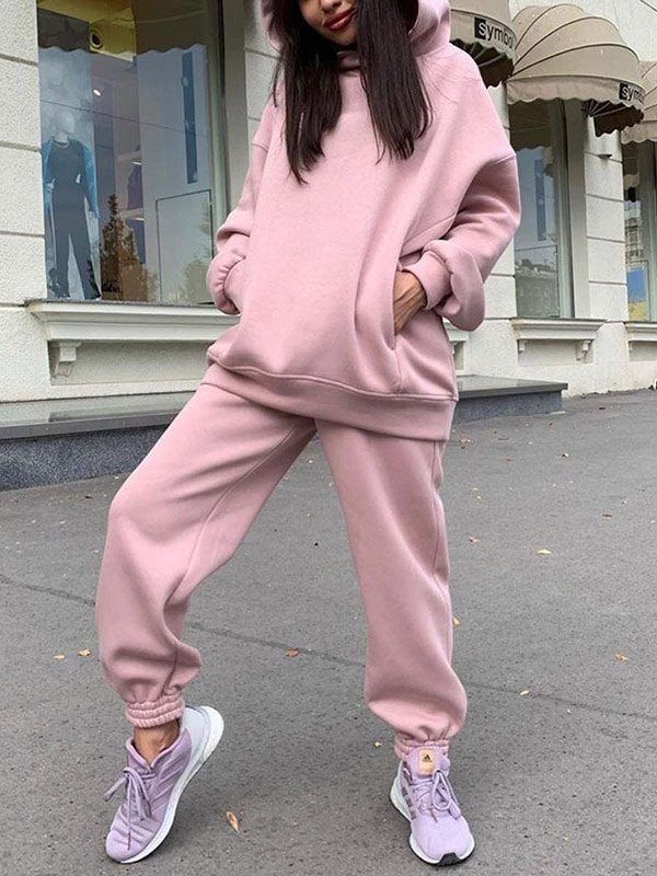 Hooded Top Joggers Tracksuit Set - Pink XL