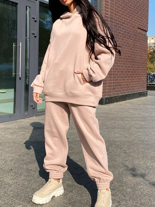 Hooded Top Joggers Tracksuit Set - Apricot XL