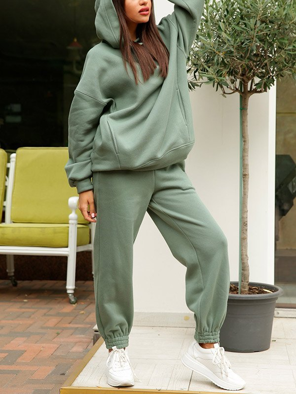 Hooded Top Joggers Tracksuit Set - Biscay Green XL
