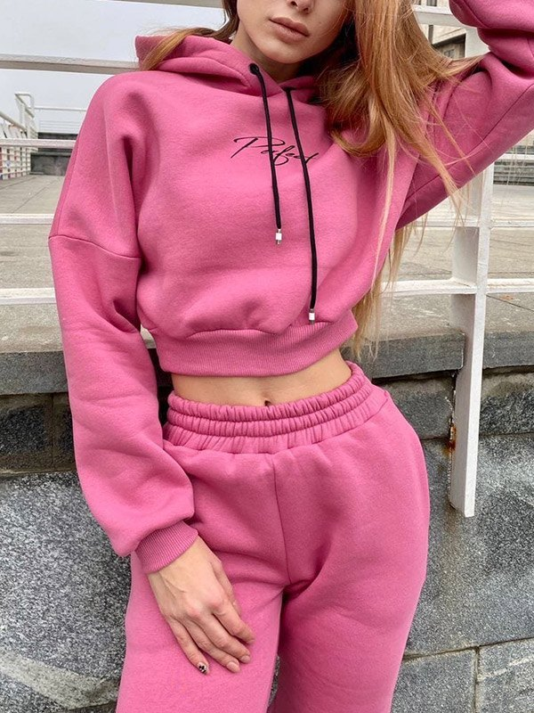 Letter Print Tracksuit Two-Piece Outfit - Pink XL