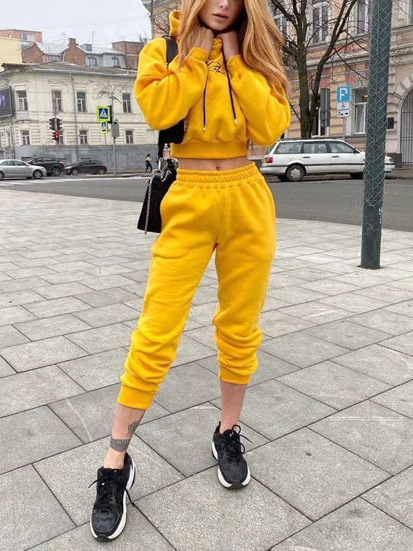 Letter Print Tracksuit Two-Piece Outfit - Yellow XL