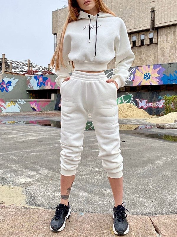 Letter Print Tracksuit Two-Piece Outfit - White XL