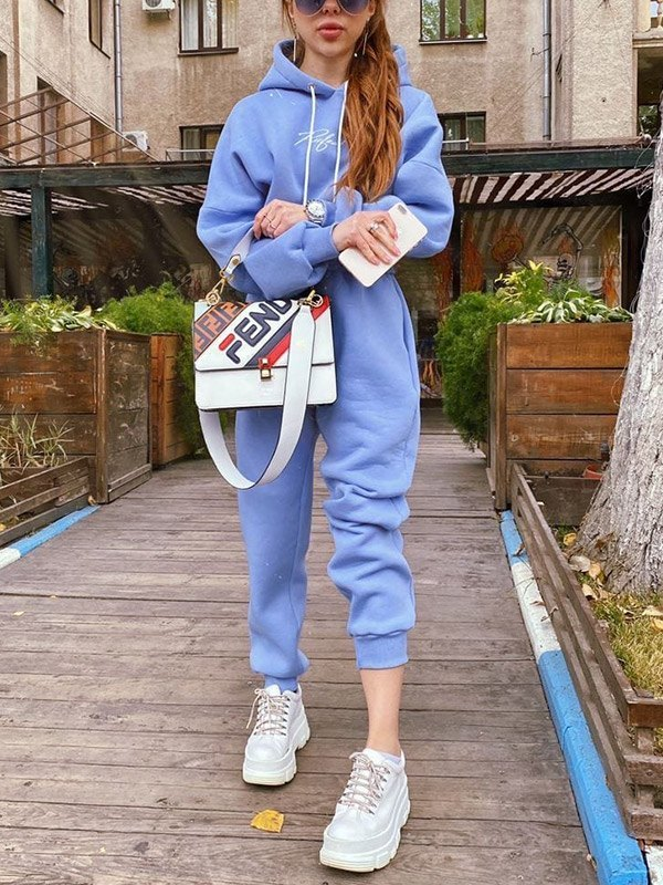 Letter Print Tracksuit Two-Piece Outfit - Blue XL