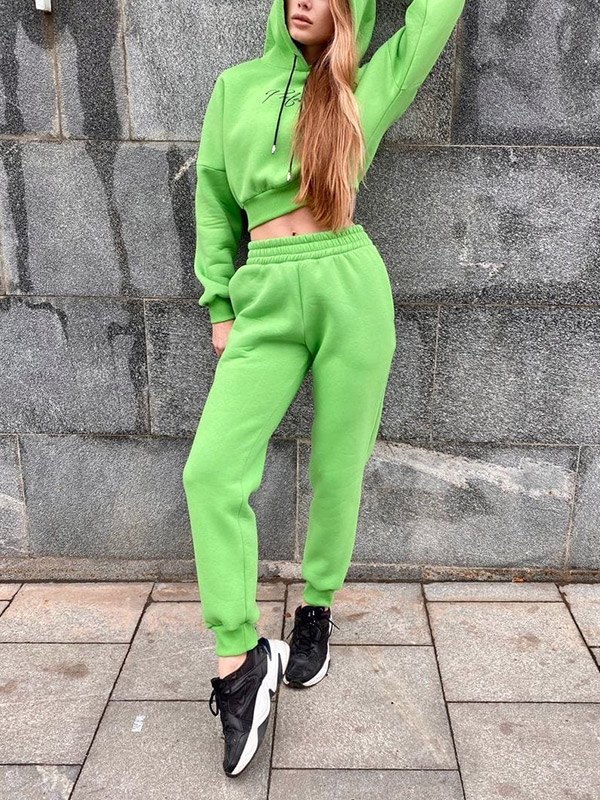 Letter Print Tracksuit Two-Piece Outfit - Green XL