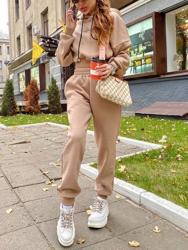 Letter Print Tracksuit Two-Piece Outfit - Apricot XL