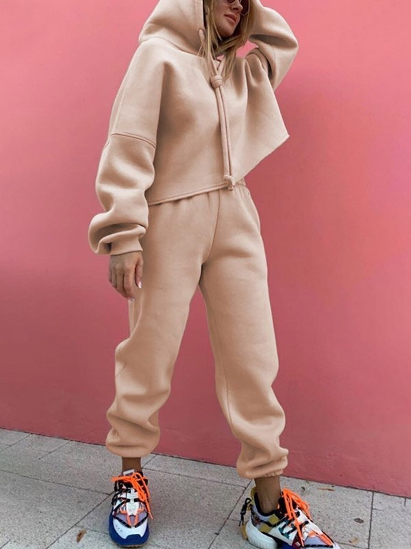 Solid Casual Tracksuit Two-Piece Outfit - Apricot XL