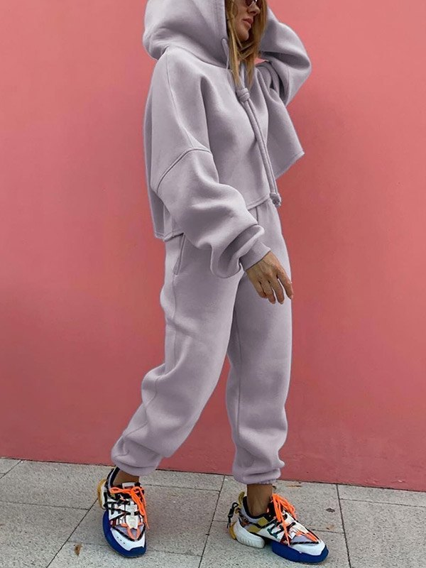 Solid Casual Tracksuit Two-Piece Outfit - Gray XL