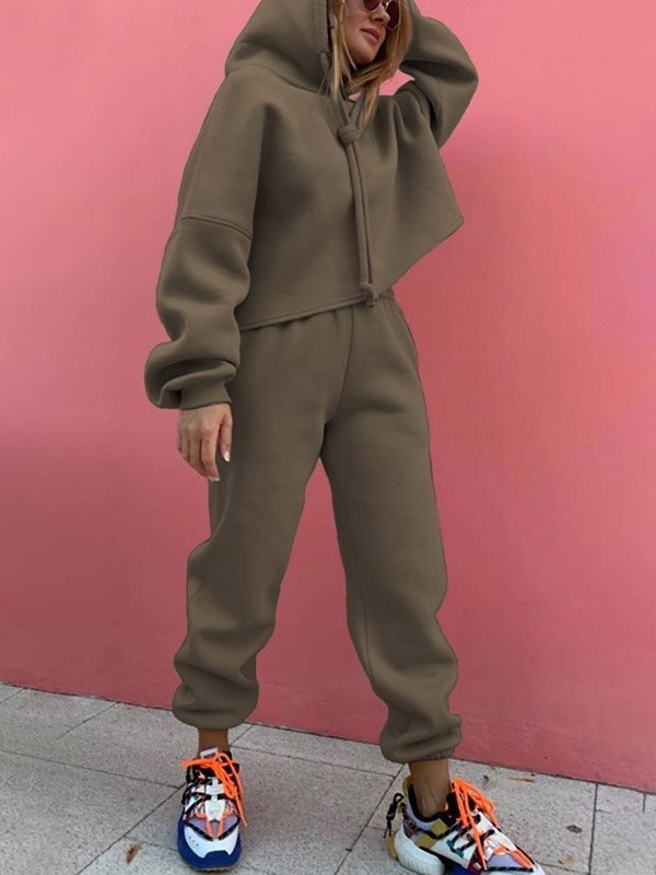 Solid Casual Tracksuit Two-Piece Outfit - Chive XL