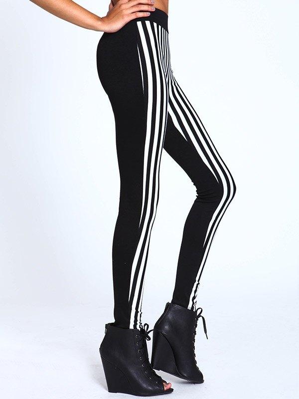 Contrast Striped Slim Legging - multicolorple Colors L