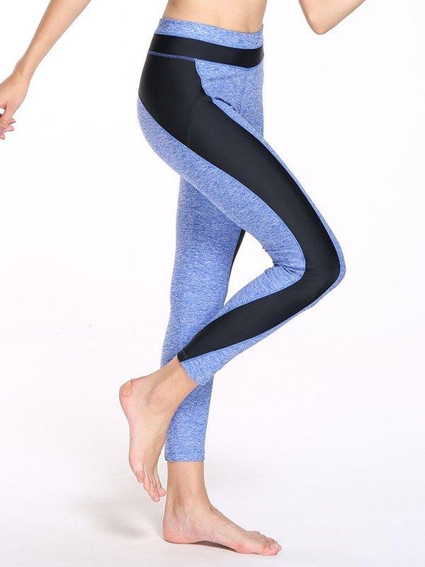 Patchwork High Waist Yoga Legging - Blue XL