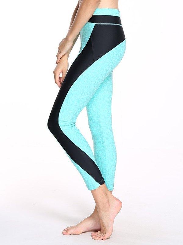 Patchwork High Waist Yoga Legging - Biscay Green XL