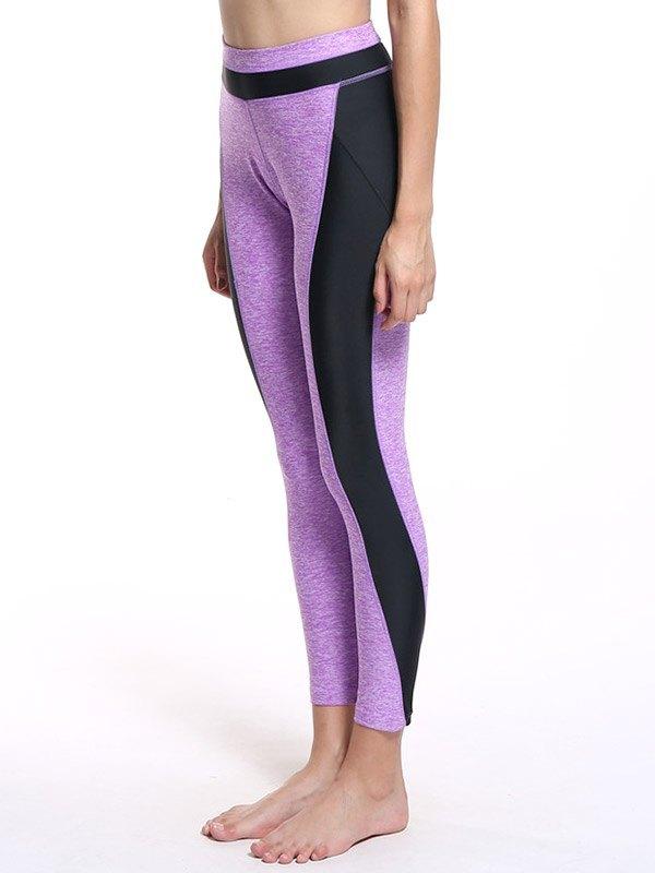Patchwork High Waist Yoga Legging - Purple XL