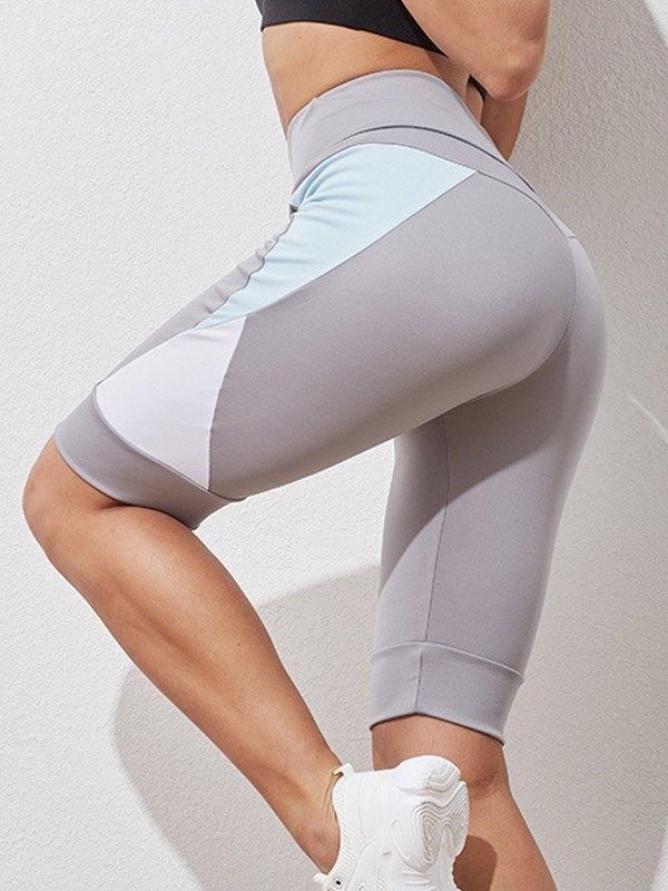 Color Block High Waist Active Shorts - Gray L