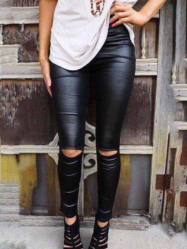 Ripped High Waist Pu Leather Legging - Black XL
