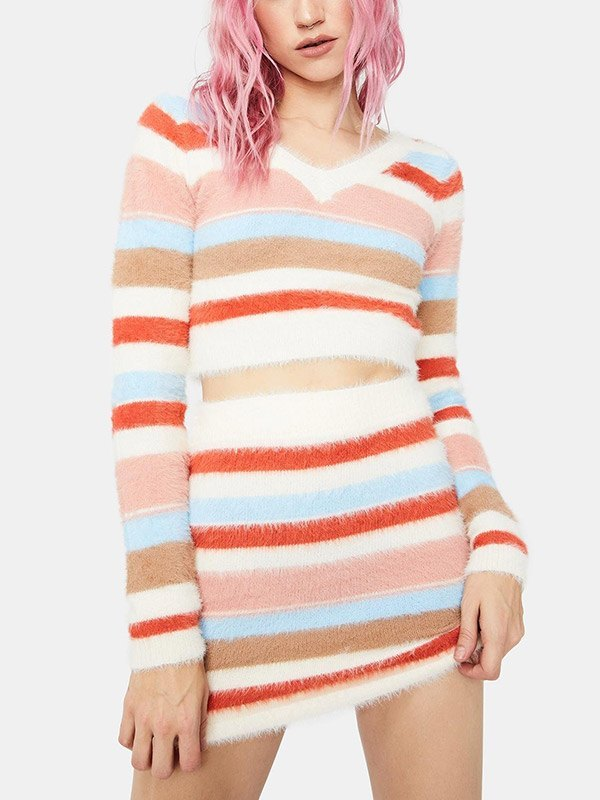 Fuzzy Striped Knit Two-Piece Outfit - multicolorple Colors 2XL