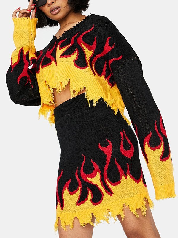 Distressed Flame Print Two-Piece Outfit - Yellow 2XL