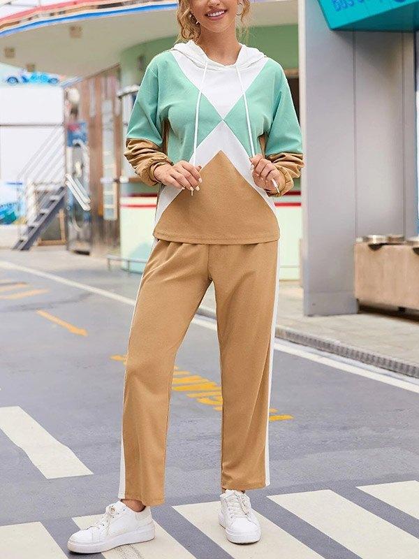 Color Block Hoodie Sweatpants Set - multicolorple Colors 2XL