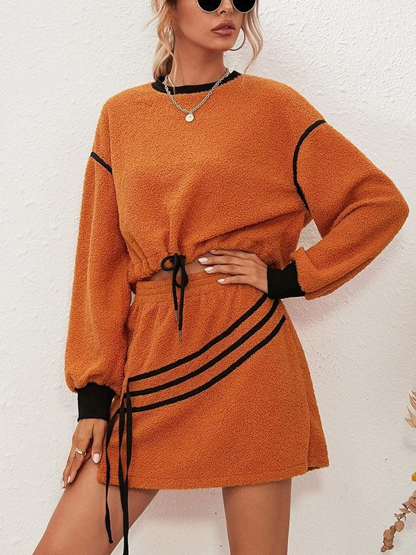 Fleece Sweatshirt Mini Skirt Set - Orange Red 2XL