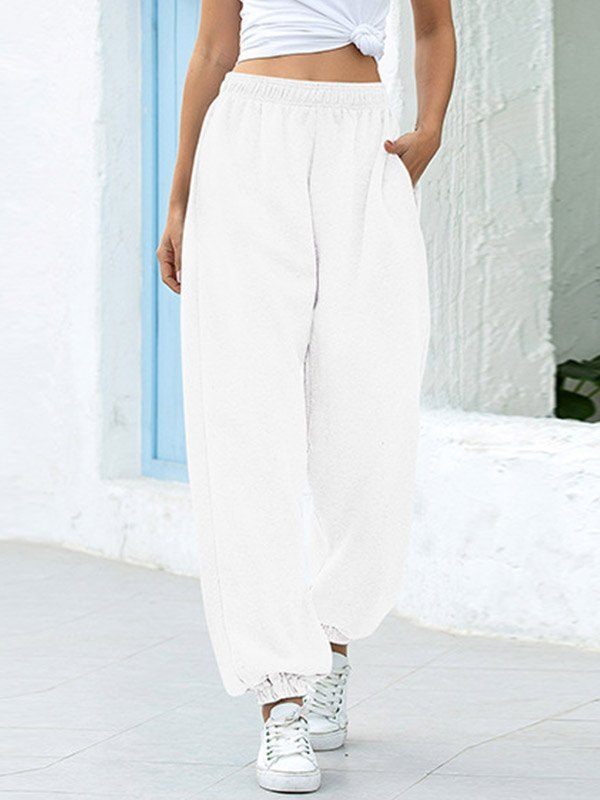 High Waist Casual Track Pants - White 2XL