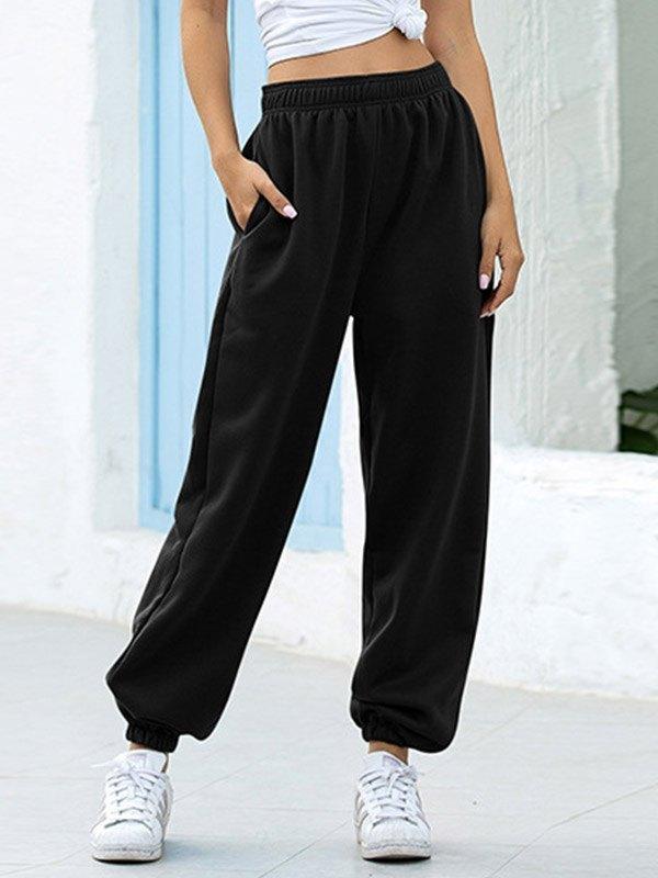 High Waist Casual Track Pants - Black 2XL