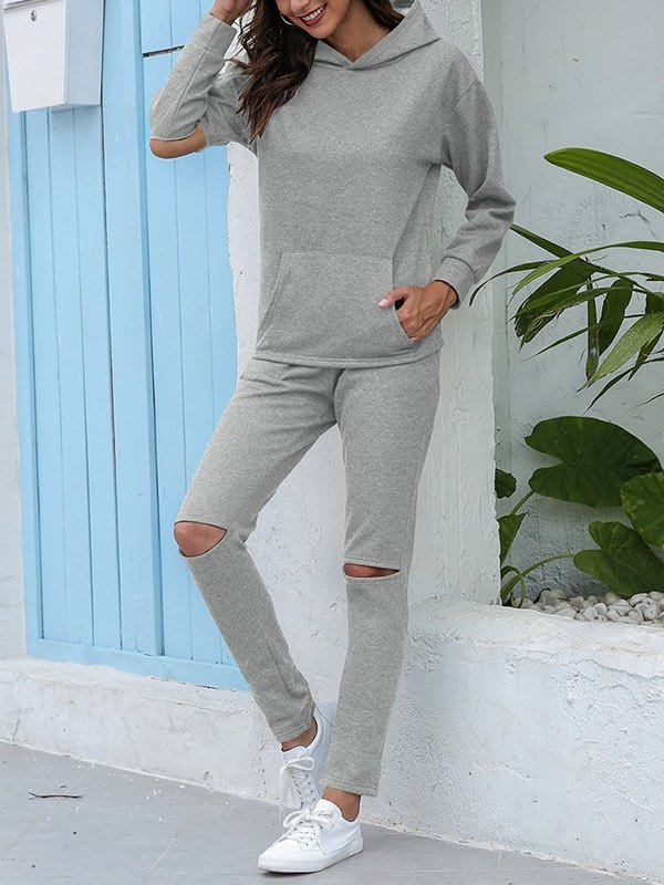Hooded Top Ripped Pants Set - Gray 3XL