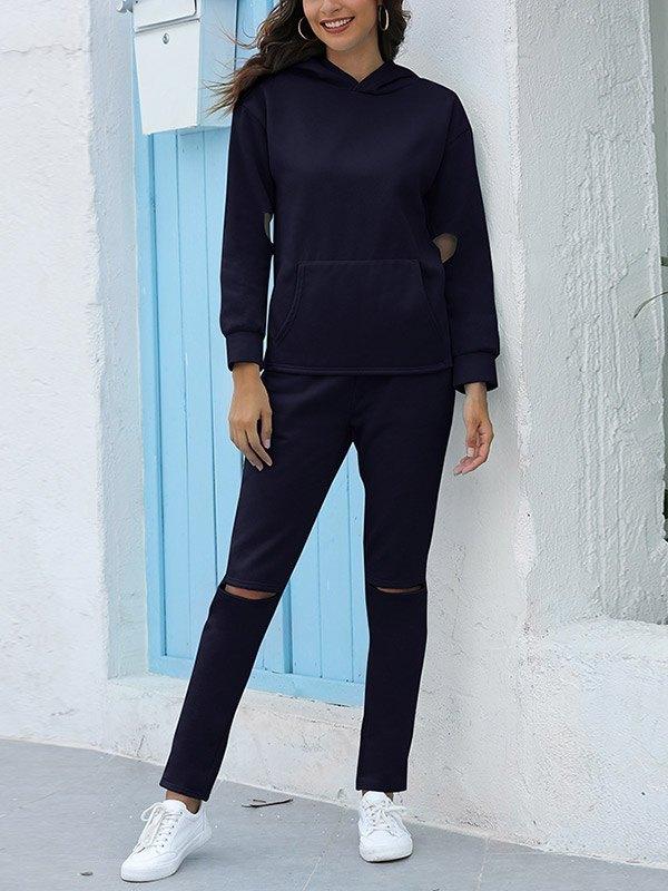 Hooded Top Ripped Pants Set - Navy Blue 3XL