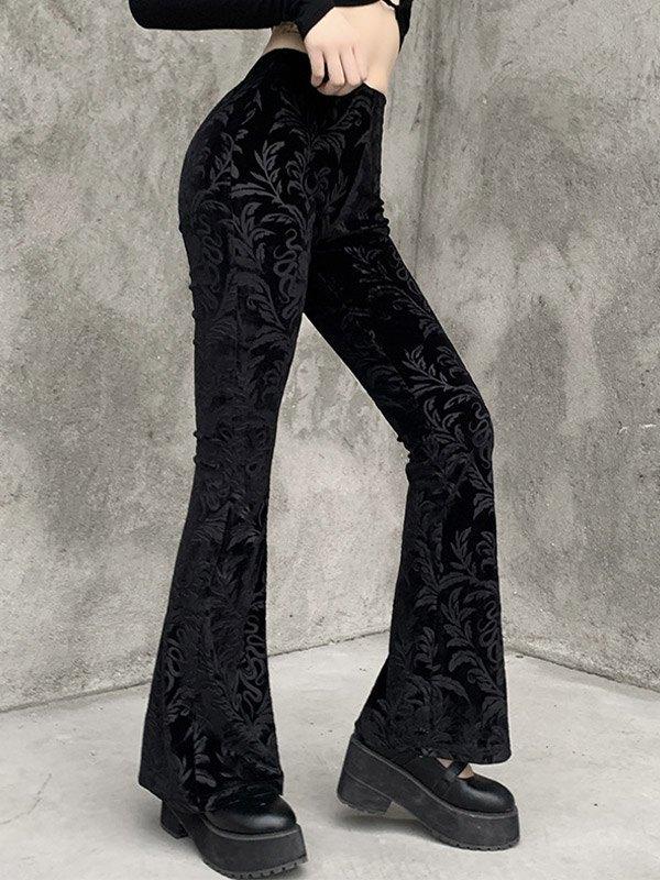 Pantalones acampanados de terciopelo con relieve vintage - Negro S