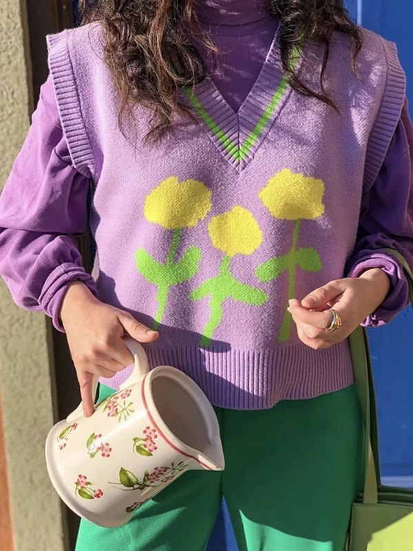 Flower Print Knit Sweater Vest - Lilac ONE SIZE