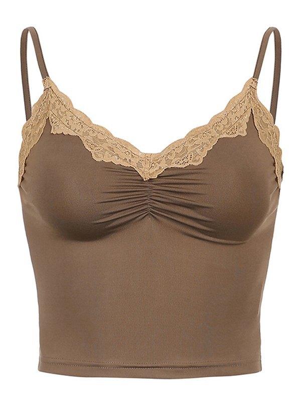 Lace Trim Crop Cami Top - Brown S