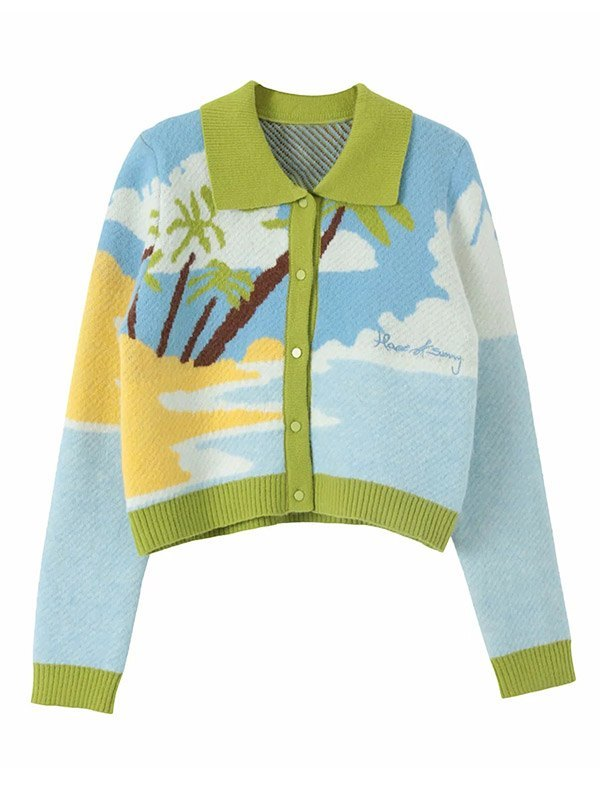 Polo Neck Printed Knit Cardigan - Pure Blue L