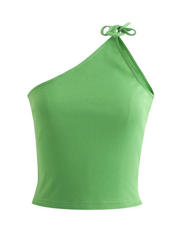 Slant Shoulder Cropped Cami Top - Green L