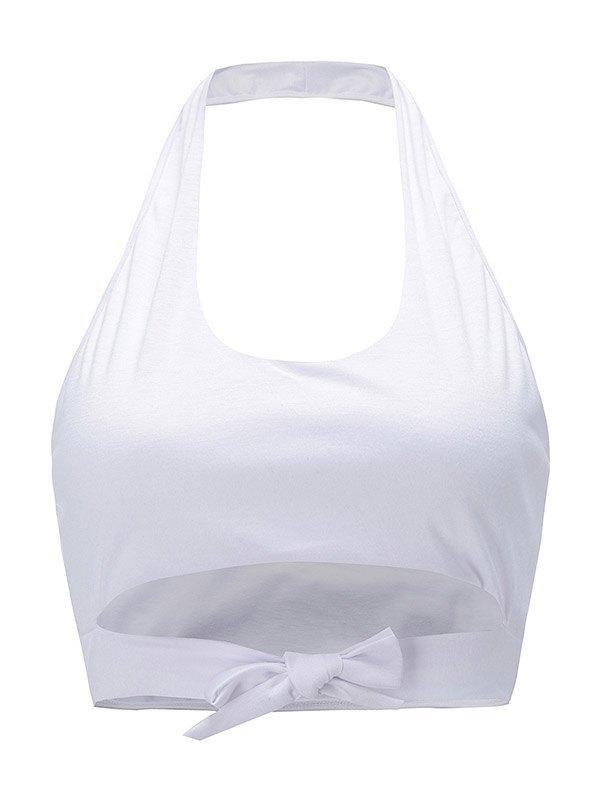 Front Tie Halter Crop Tank Top - White XL