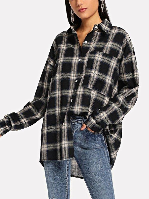 Button Up Plaid Blouse - Black 2XL