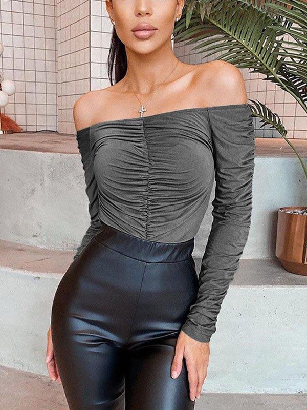 Off Shoulder Ruched Long Sleeve Bodysuit - Gray L