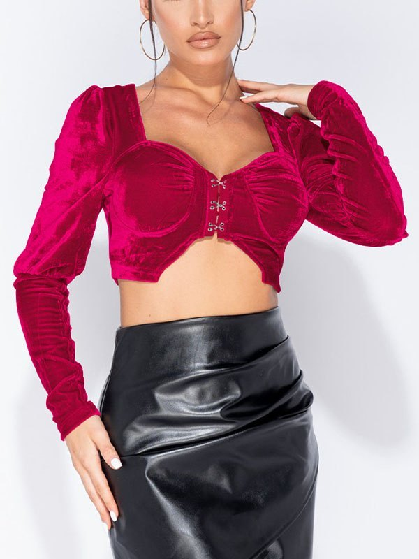 Long Sleeve Velvet Cropped Bustier - Red XL