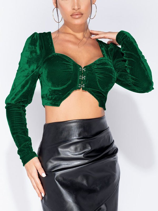 Long Sleeve Velvet Cropped Bustier - Green XL