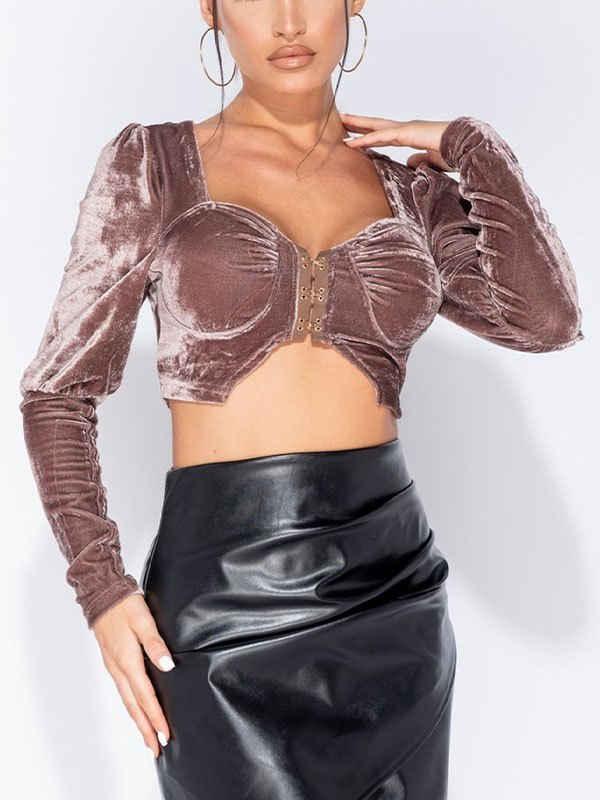 Long Sleeve Velvet Cropped Bustier - Coconut Brown XL
