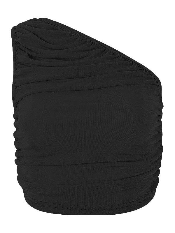Slant Shoulder Crop Tank Top - Black M