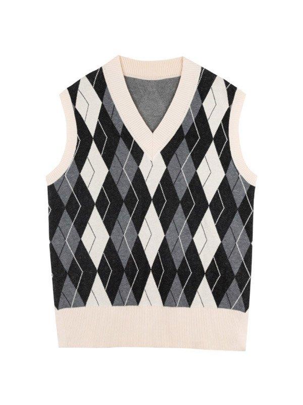 Argyle V Neck Sweater Vest - Black L