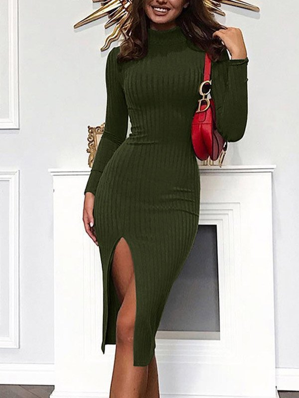 Mock-Neck Split Hem Rib-Knit Dress - Chive M