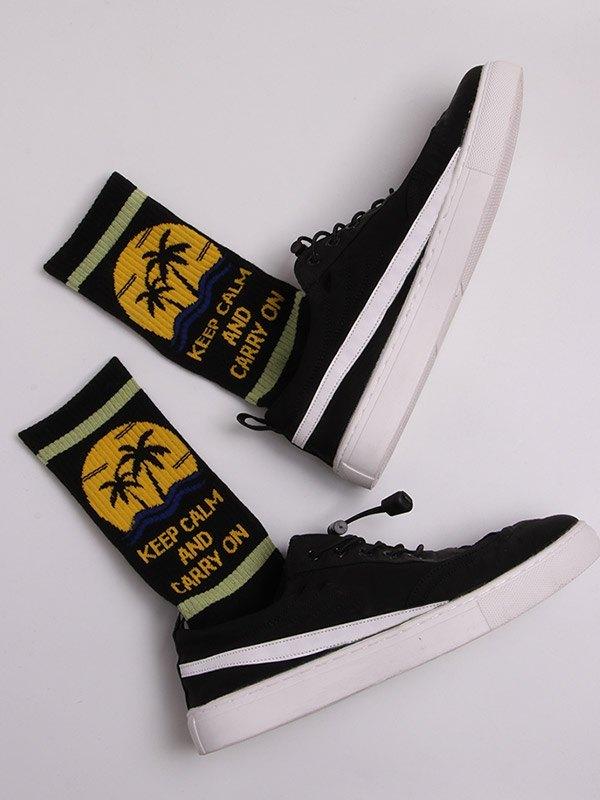 West Coast Print Crew Socks - Black ONE SIZE