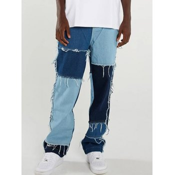 Men's Patchwork Frayed Skate Jeans